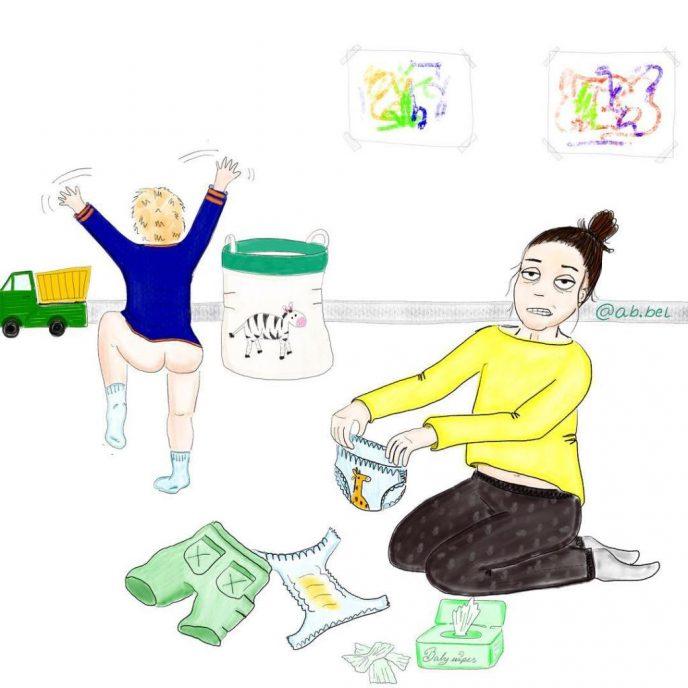 Жизненные иллюстрации о том, как проходит день у любой мамочки