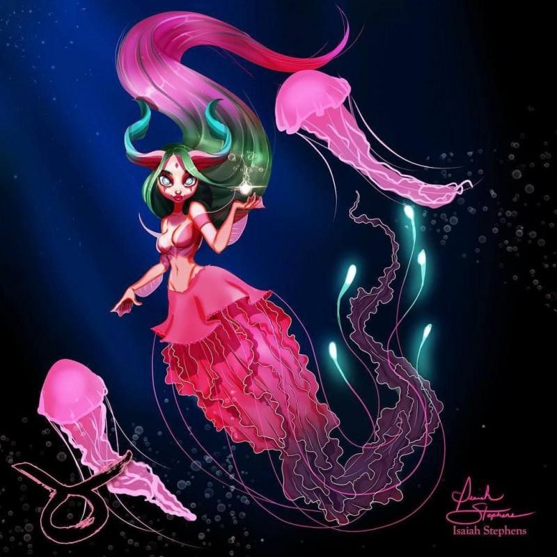 Художник показал, как выглядели бы знаки Зодиака, будь они волшебными русалками