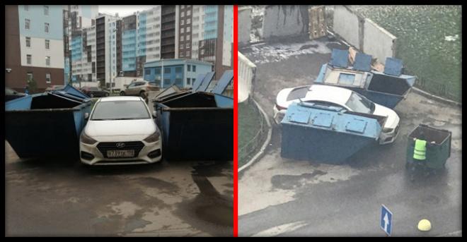 Авто-хам думал, что может парковаться как хочет, но мусоровозы решили иначе