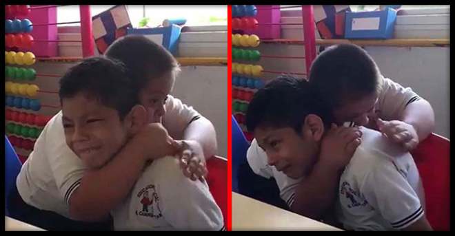 Видео мальчика с синдромом Дауна, утешающего одноклассника с аутизмом, стало вирусным в сети