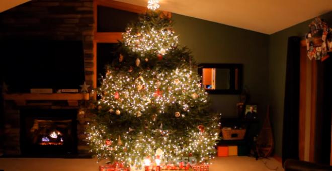 Отец украсил новогоднюю ёлку в гостиной. Она стала стала хитом в интернете!